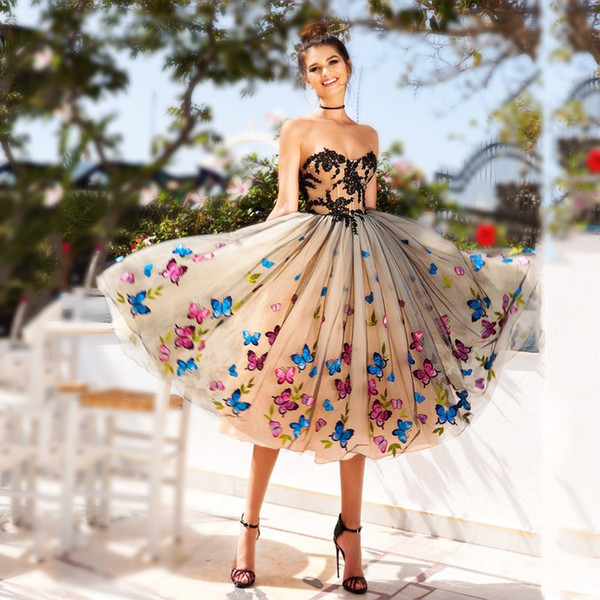 best selling Colorful Butterfly Prom Dresses 2018 Sweetheart Black Lace Appliques Evening Gowns Champagne Lace Up Back Tea Length Cocktail Party Dress