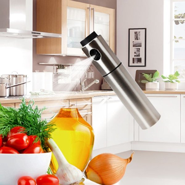 Silver Stainless Steel Olive Pump Spraying Oil Bottle Sprayer Can Oil Jar Pot Tool Can Pot Cookware Kitchen Tools Frasco de oleo