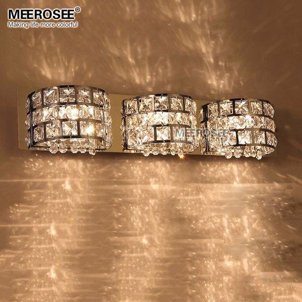 Fast Shippment Luxurious Crystal Wall Lamp Chrome Aisle Hallway Wall Sconces Bedroom Bathroom Light Lustre 3 Lights MD81633