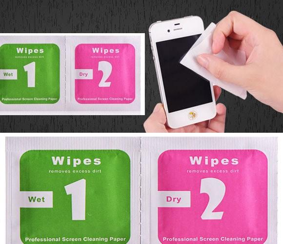 Dry Wipes+Wet Wipes+Dust Absorber Sticker Cleaning Cloth For Tempered Glass Screen Protector Tablet Camera LCD new arrival