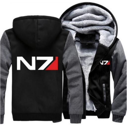 Men Women Mass Effect N7 hoodie Thicken Fleece Zipper hoodie Pullover Hoodies Coat Clothing Jacket Casual Tops USA EU size