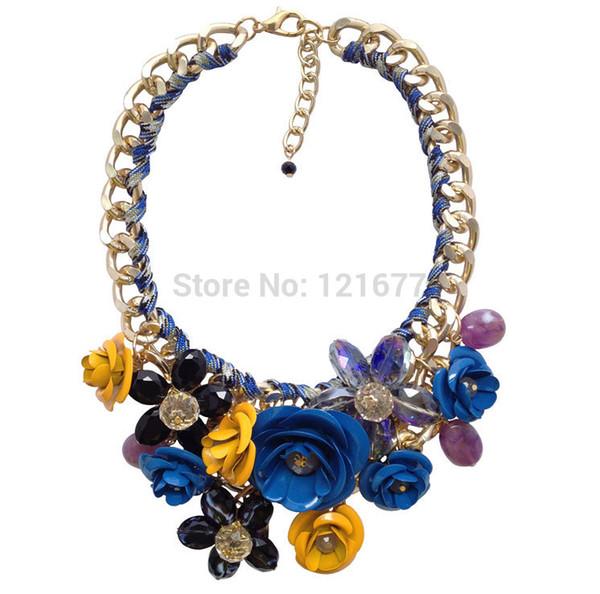 Venta caliente Marca de Moda de Cristal Flor Collares Colgantes Chunky Gran Collar de Gargantilla de Joyería Declaración de Collar de La Vendimia N0334