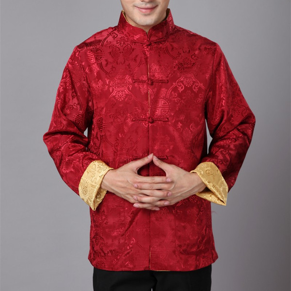 Wholesale- Cheongsam Top Traditional Chinese Clothing for Men Long Sleeve Male Satin Silk Costume Men Shirt Chinese-suits AF01-BZ