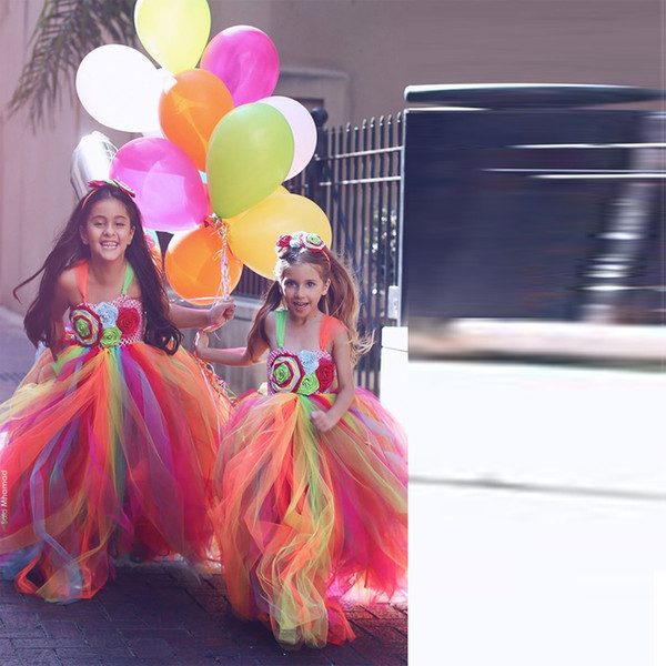 top popular Multicolour Spaghetti Layers Tulle Flower Girls Dress Hand Woven Flower Long Colorful Rainbow Dresses For Girl Customized Pageant Gowns 2019