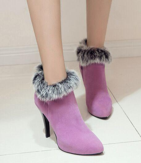 Wholesale New Arrival Hot Sale Specials Super Influx Warm Noble Martin Suede Pointed Side Zip Rabbit Hair Fine Heels Ankle Boots EU34-45