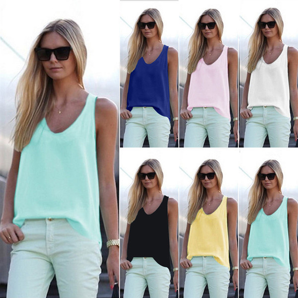 Blusas de mujer de verano 2017 nueva blusa de seda de gasa casual sin mangas con cuello en v blusa feminina tops camisas sólido 6 color Y048