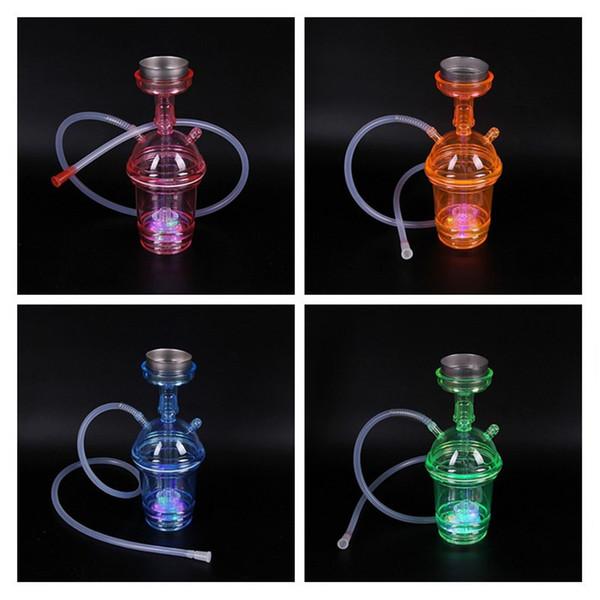 Fumeurs Dogo 2018 Nouveautés Mini Narguilé En Plastique Coloré Narguilé Shisha Bongs Fumeurs Portatifs avec Lumière LED PH-001