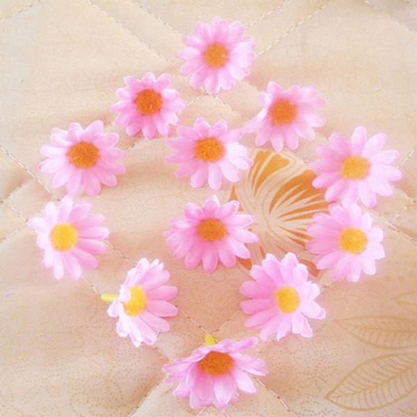100pcs tête de fleur artificielle accueil chambre décoration soie de mariage Patry tournesols décoratif petit bricolage fleurs têtes de Noël décor