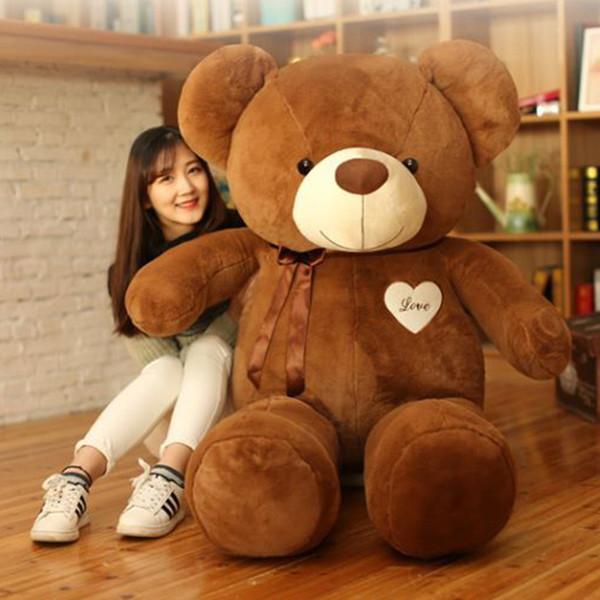 Cute 80cm Large Teddy Bear Plush Doll Stuffed Soft Toy Cute Huge White Bear Wear Bowknot Kids Toys Birthday Gift for Girl