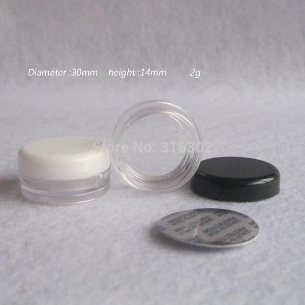 100 X 2G продвижение белый черный пластиковый крем банку небольшой мини пластиковый горшок контейнер