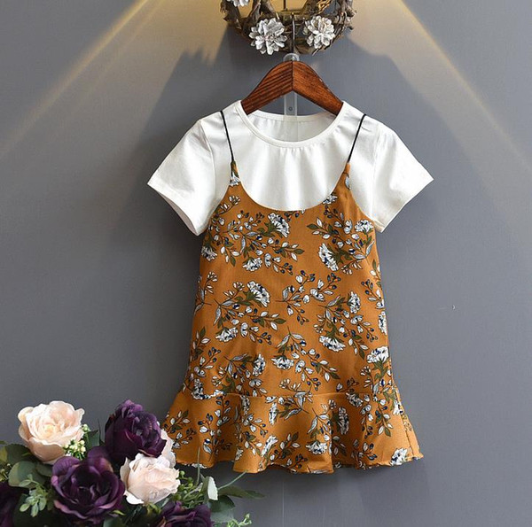 Hot Summer Girls Dress Set Baby T-shirt in cotone a maniche corte in cotone + Florals Slip Dress Girl 2pcs Abbigliamento Suit Outfit per bambini Giallo Verde