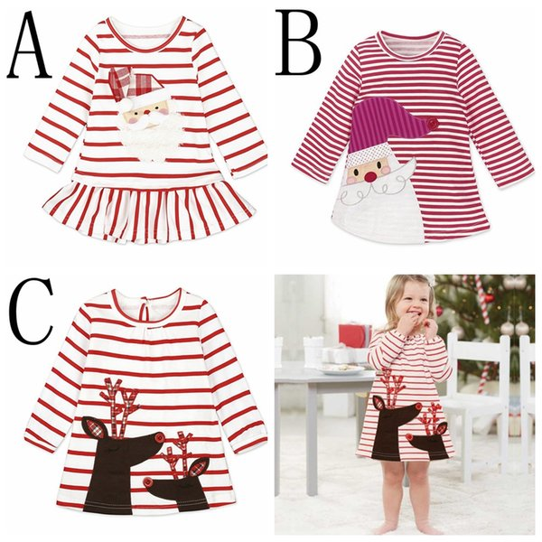 top popular INS XMAS Baby Girls Christmas Deer Party Cosplay Costume Princess Santa Claus Deer Elk Dress Stripe Long Sleeve Skirt 1-6years free ship 2020
