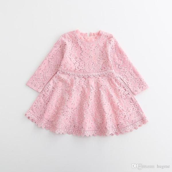 2017 Filles 3color princesse robe bébé fille dentelle tulle robes enfants vêtements enfants dentelle évider à manches longues robe fille coton jupes