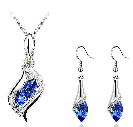best selling Crystal Necklace Earring Set Nickel Free Blue Jewelry Sets High Quality Fashion Jewelry Sets For Women 2017