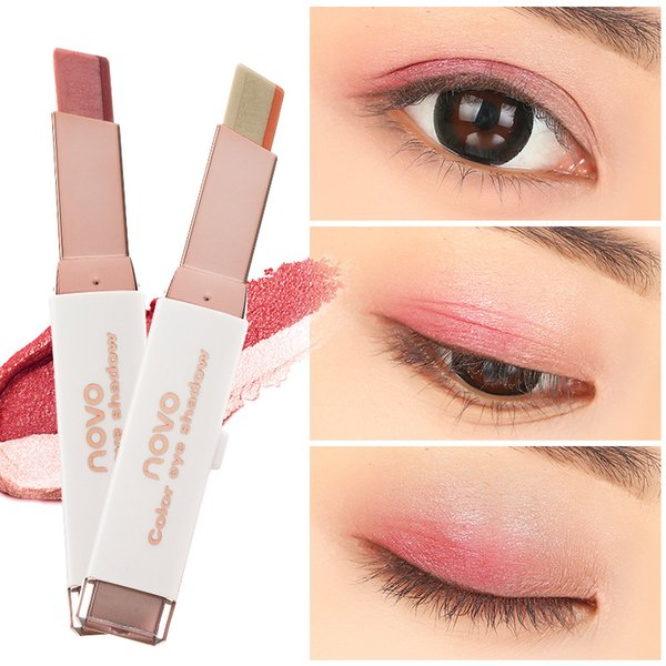 NOVO Double Color Eye Shadow Stick Velvet Gradient Color Eyeshadow Pen Pearl Color 3.8g 500pcs DHL