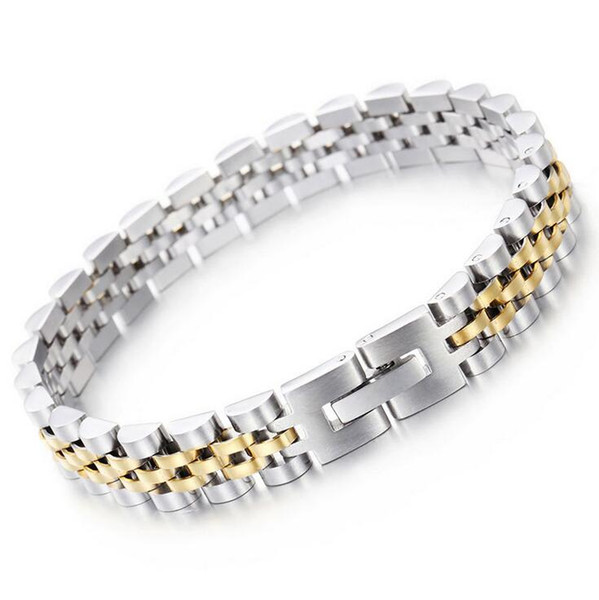 9.5mm 15mm Hot selling jewelry Stainless Steel Fashion Hiphop Gold Silver watchstrap type simple Chain adjustable Bracelet for Women Men