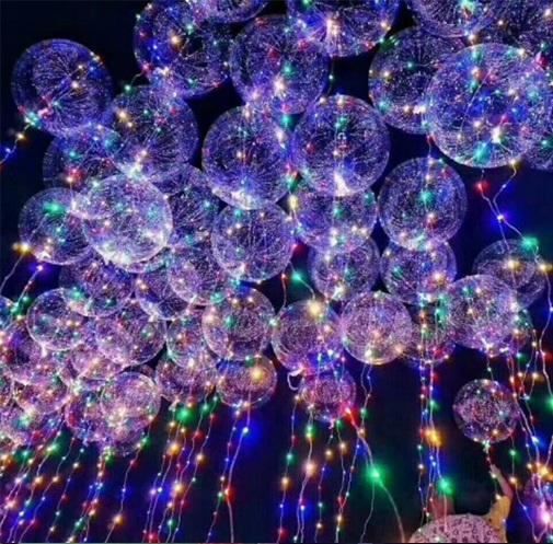 New Light Up Toys LED String Lights Flasher Lighting Balloon wave Ball 18inch Helium Balloons Christmas Halloween Decoration Gift