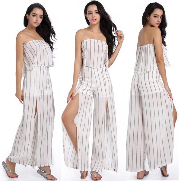 Großhandel Sexy Weiß Streifen Damen Zweiteiler Sets Kleid Rüschen ...