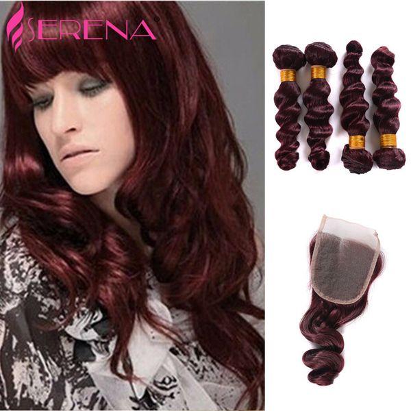 Burgundy Peruvian Loose Wave 4 Bundles Burgundy Human Hair Weave Bundles Red Wine 99J Virgin Hair With 4x4 Lace Closure 5Pcs Lot