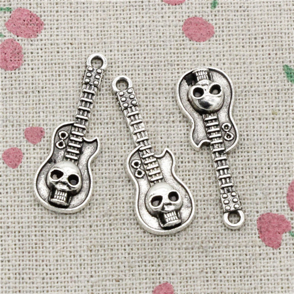 81pcs Charms guitar skull 32*11mm Tibetan Silver Vintage Pendants For Jewelry Making DIY Bracelet Necklace