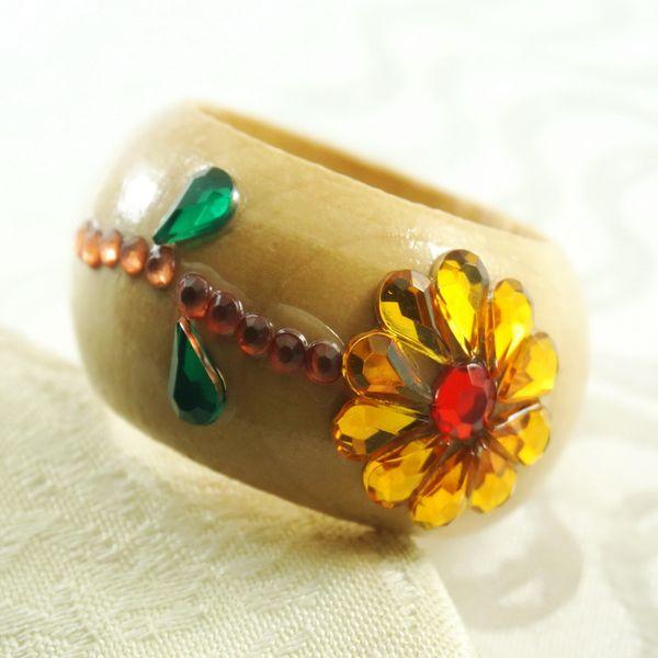 Wholesale- qn16012802 crystal decoration napkin ring, wood napkin holder for wedding