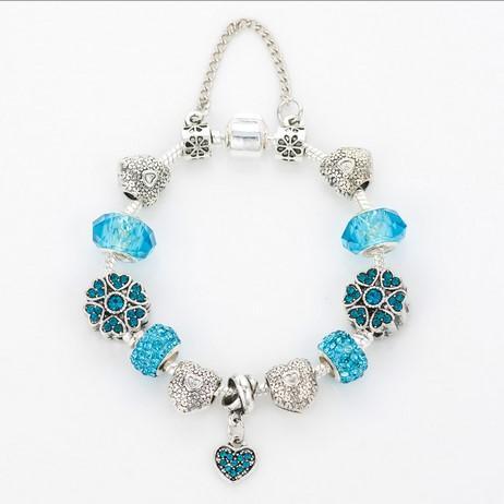 Moda plata de ley 925 cielo azul Murano Cristal de murano Cristal de cristal Granos europeos del encanto Se adapta a las pulseras del encanto de Pandora Pulseras de estilo