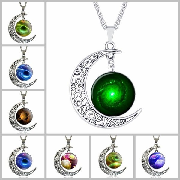 Charms Necklaces for Women Fine Jewelry GlassGalaxy Love Pendant Summer Beach Statement Silver Long Chain Alloy Hollow Moon Pendant Necklace