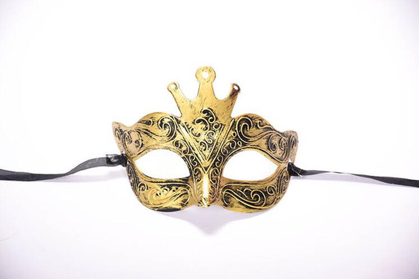 Halloween Ancient Rome Male Antique Crown Half Face Carved Bronze Mask Masquerade Party Mask