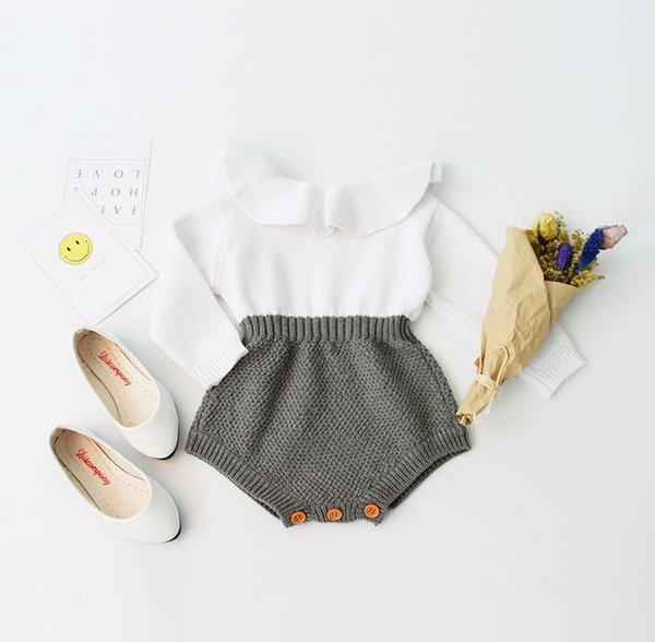 Ins Infant Baby Knitted Rompers Kids Girls Long Sleeve Peter Pan Collar Knitwear Pullovers Tops Overalls Toddlers Babies Romper