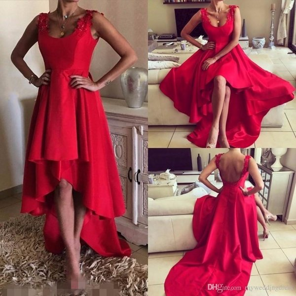 Custom Made 2017 Short High Low Red Prom Dresses Tiers Skirts Applique Backless Cocktail Ball Gowns Formal Cheap Sexy Evening Party Dress