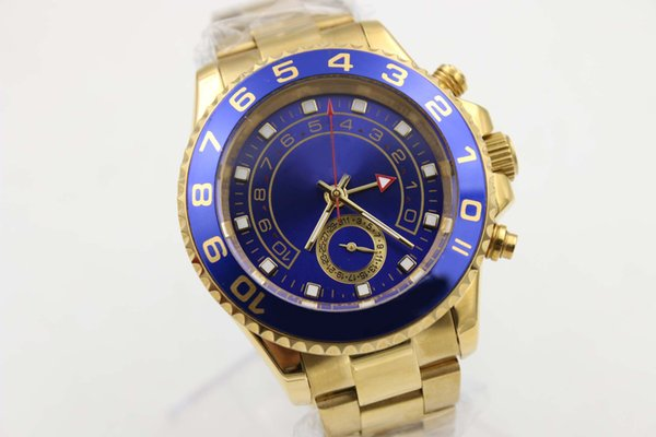 Luxury new hot sale Christmas gift automatic master 2 watch movement man stainless steel blue bezel golden case black dial mens wristwatch