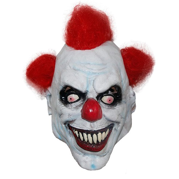 X-MERRY TOY Killer Clown Mask Adulto Hombres Latex Red Hair Halloween Prank Pennywise Evil Scary Fancy Dress Apoyos