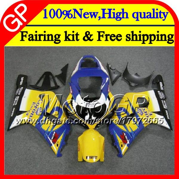 Cuerpo para SUZUKI GSX-R600 GSXR 750 K1 GSXR750 01 02 03 23GP10 GSXR 600 Azul CORONA 01 03 GSX-R750 GSXR600 2001 2002 2003 Carenado de motocicleta