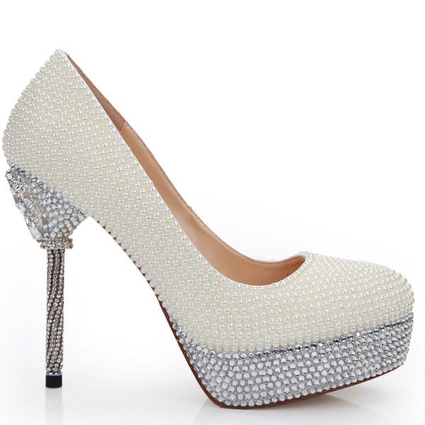 14cm Heels Ivory Pearl Bridesmaid Shoes Wedding Bridal High Heel Shoes Stilettlo Heel Wedding Celebration Party Pumps Free Shipping