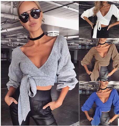 Sweaters Sexy V-neck T-shirt belt fall and winter warm coat primer shirt Bandage Crochet Knitted casual Crop Top Women Tee Sexy club Tops