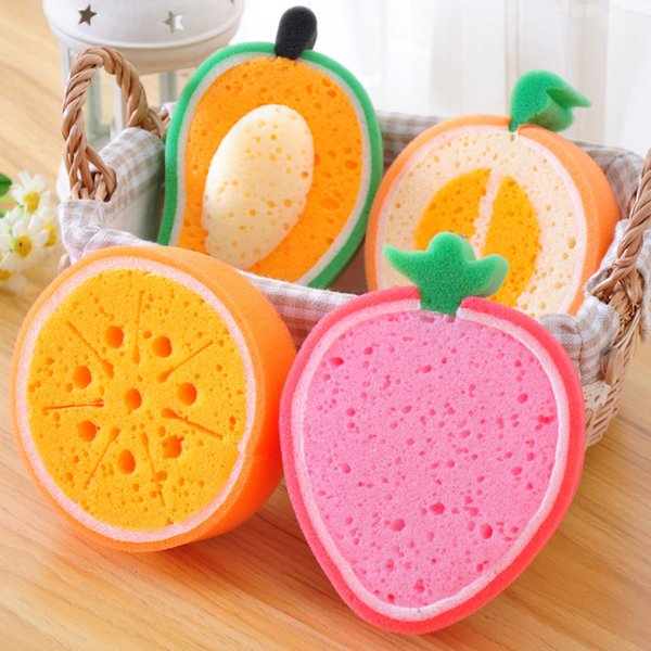 1 pcs Creative Fruits Sponge Brush Tableware Glass Washing Cleaning Kitchen Cleaner Tool household items Free shipping