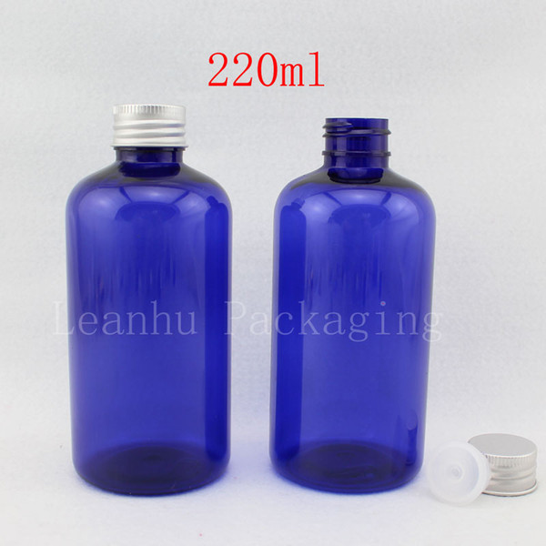 220ml X 24 blue round empty PET plastic bottle with aluminum cap , 220cc colored cosmetic liquid soap container Shampoo bottle