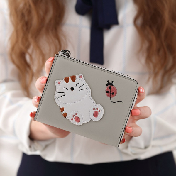 YOUYOU MOUSE Candy Color Women PU Leather Wallet Embroidered Cat Money Wallet Short Zip Lady Fashion Coin Purse Card & ID Holder