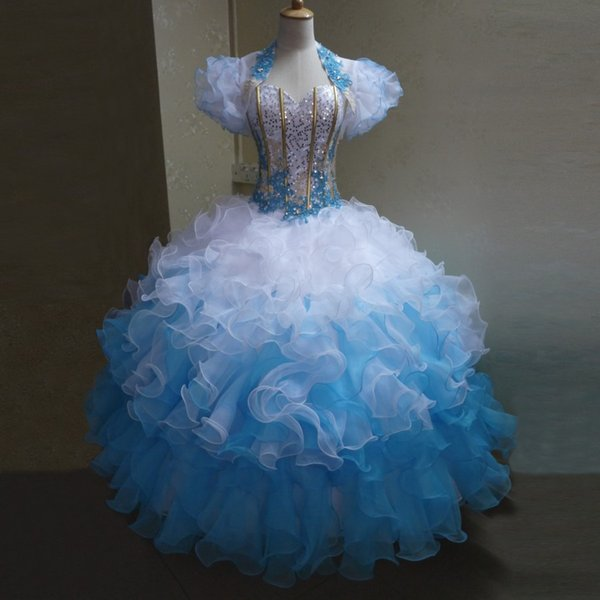 New Beautiful Ball Gown White and Blue Quinceanera Dresses Ruffles Organza Plus Size 2019 Lace Beaded 16 Dress with Jacket Short Sleeves