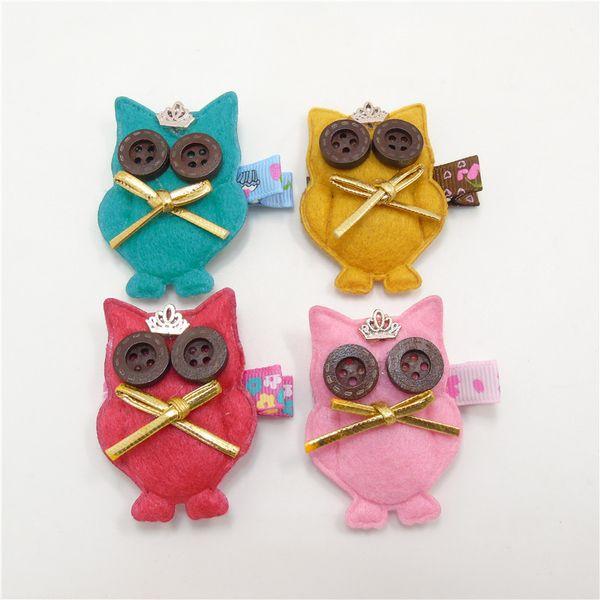 20pcs/lot Handmade Felt Owl Hair Clip Red Pink Mustard Christmas Animal Hair Barrettes Toddler Crown Cartoon Button Eye Hairpin