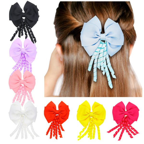 16Pcs 4 Inch Girls Solid Korker Layered Ribbon Bows Hairpin Baby Girls Handmade Boutique Hair Clip Beautiful HuiLin DW58