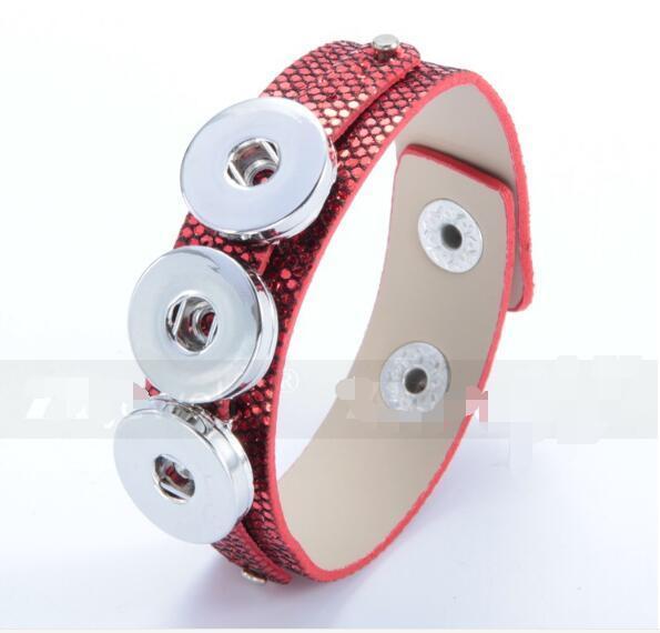 5pc / lot moda rosso nero vendita calda cuoio DELL'UNITÀ di elaborazione braccialetto fai da te 18mm noosa pulsante braccialetto bangle pulsante a scatto braccialetto gioielli fai da te fit 18mm fascino