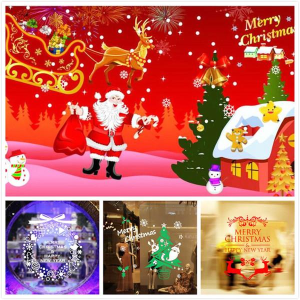 M-13 Happy New Year Christmas Snowflake Christmas Tree Wall Stickers Shop Window Stickers Glass Tea Shop Waterproof Stickers