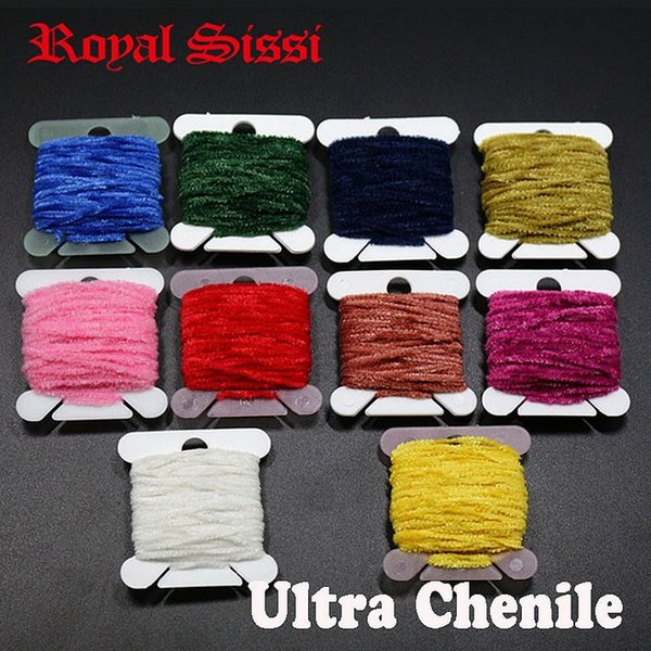 10Cards/lot 10Colors Assorted Rayon Chenille Yarn/ 2mm Tinsel line Chenille yarn for streamer/nymphal bugs Fly Fishing lure bait