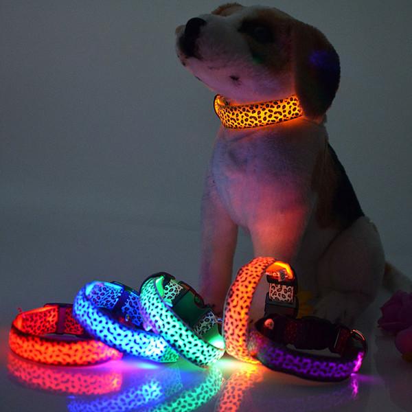 Светодиодные фонари Leopard домашние животные ошейники, регулируемый нейлон свечение в ночь Pet собака кошка щенок Безопасный световой мигающий ожерелье Зоотовары