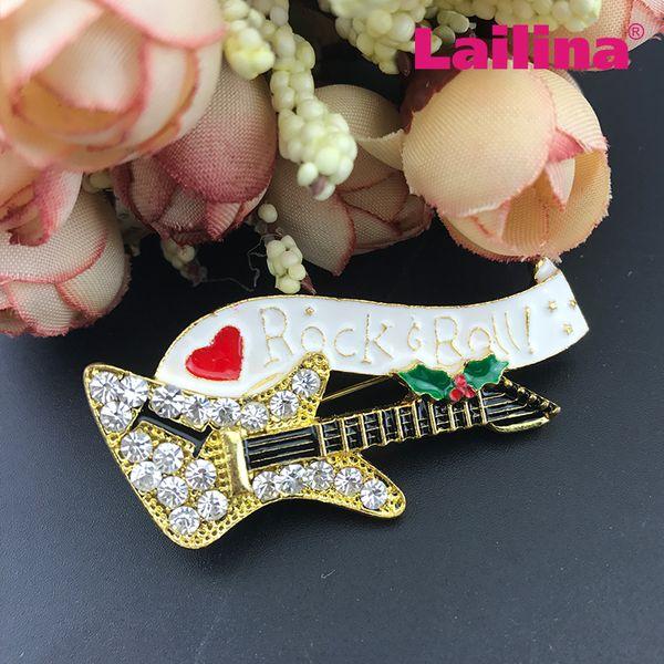 vendita calda di trasporto libero 55mm smalto goldtone chitarra spilla di strass musica chitarra rock rotolo spilla pin