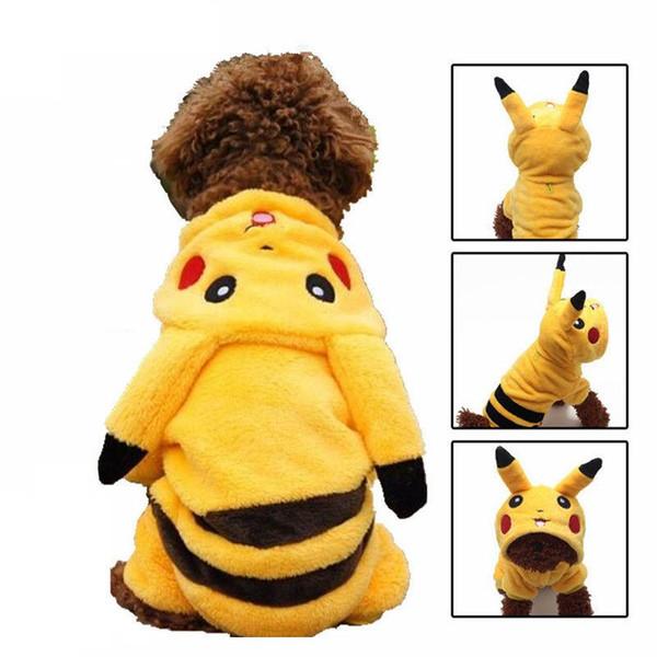 Winter Warm Dog Clothes Fleece Pikachu Pet Costume Cute Puppy Coat Funny Suit Cartoon Apparel Hoodie Jumpsuit 25