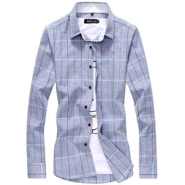 Plus Size 3XL 4XL 5XL 2017 Mens Plaid Cotton Dress Shirts Male Long Sleeve Slim Fit Business Casual Shirt Camisa For Man