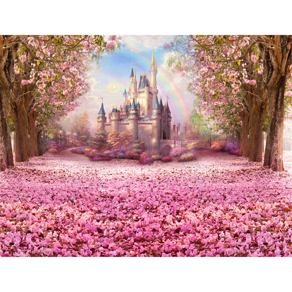 top popular Pink Flower Cherry Blossoms Backgrounds for Studio Petals Covered Road Trees Rainbow Photography Backdrops Children Kids Castle Backdrop 2019