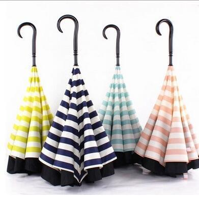 Ombrelli invertiti a righe blu scuro Maniglia a forma di C a forma di d impermeabile Impermeabile doppio strato Ombrello auto inverso Paraguas Ombrello pioggia 4 colori 10 OOA909